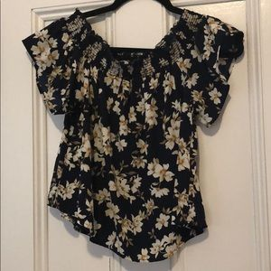 Off the shoulder flower shirt